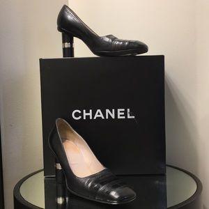 Black Vintage Chanel heels.